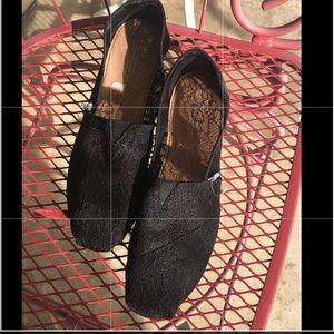 TOMS Black Lace Flats